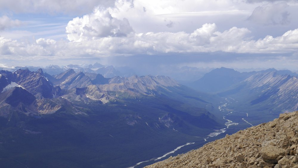 Mt. Edith Cavell in the distance (high peak left of centre) - looking north from Sunwapta Peak