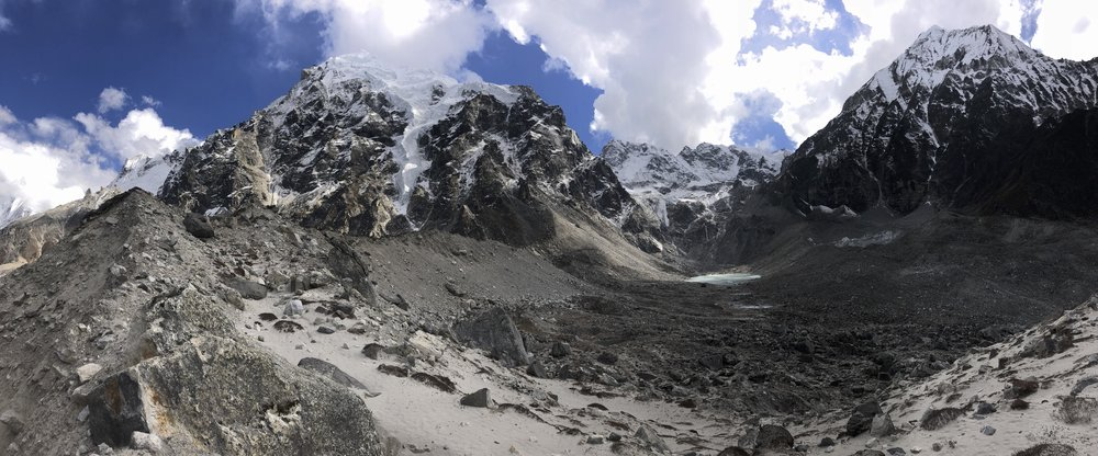 The view from the moraine of the Langshisa Glacier to the high camp of the Tilman Pass.