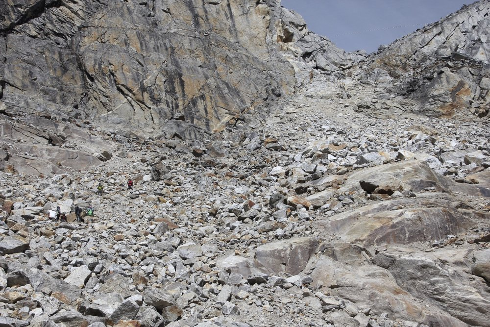 Looking back at the rocky descent from the Ganjala Pass. You can spot our porters on the left!