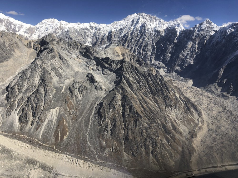 On the left is Shalbachum Glacier, and on the right is the Langtang Glacier with Mt. Shishapangma looming above in the centre.