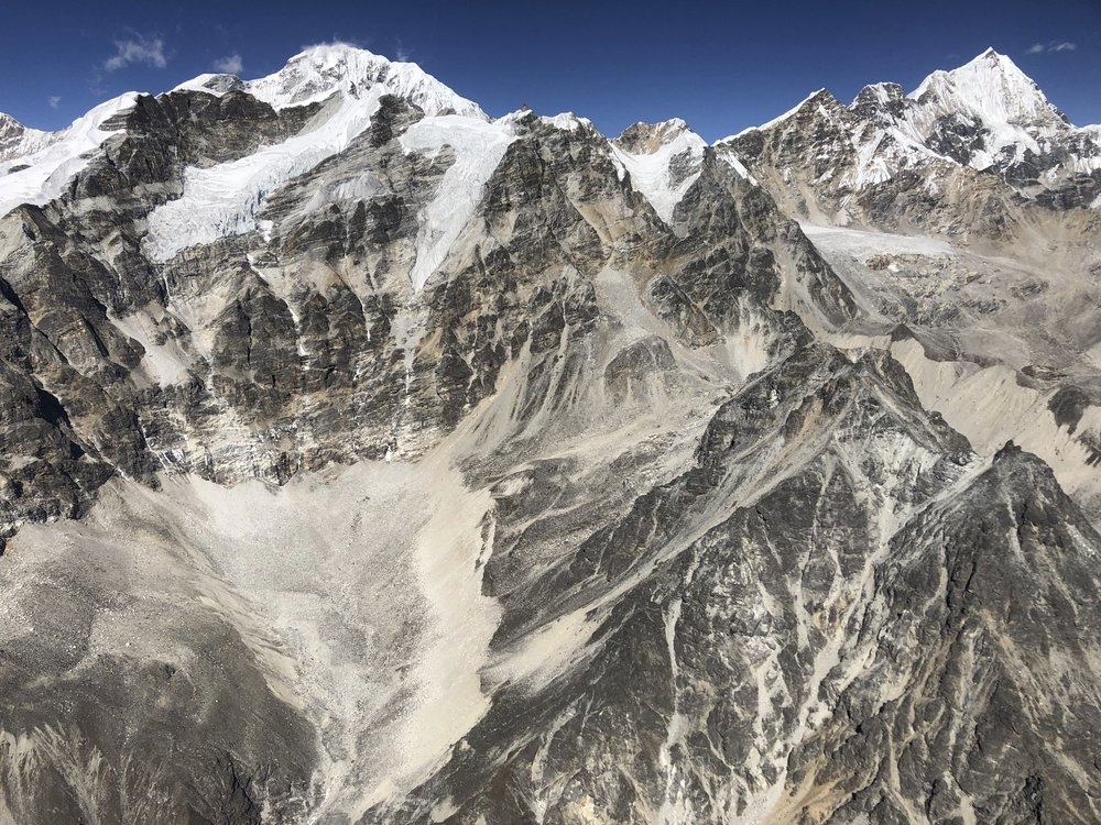 The Langtang Himal from the helicopter. The high mountain on the left/centre is Shalbachum 6,707m and the pointy peak on the right is Kyunggari 6,599m.