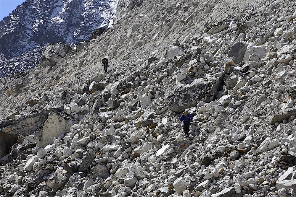 Descending from the moraine to the glacier was steep and tricky. We were concerned about possible rockfall.