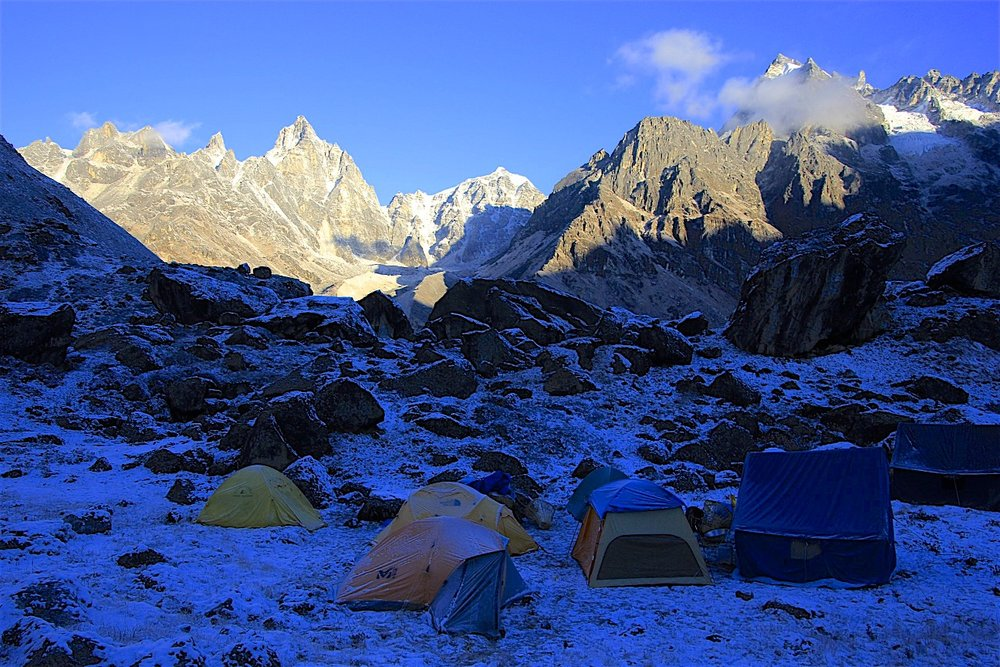 Our campsite at Tin Pokhari. We had one but very intense snow storm. Thankfully, it did not extend beyond Tin Pokari.