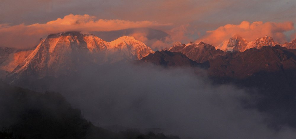 Langtang and Jugal Himals the sunset.