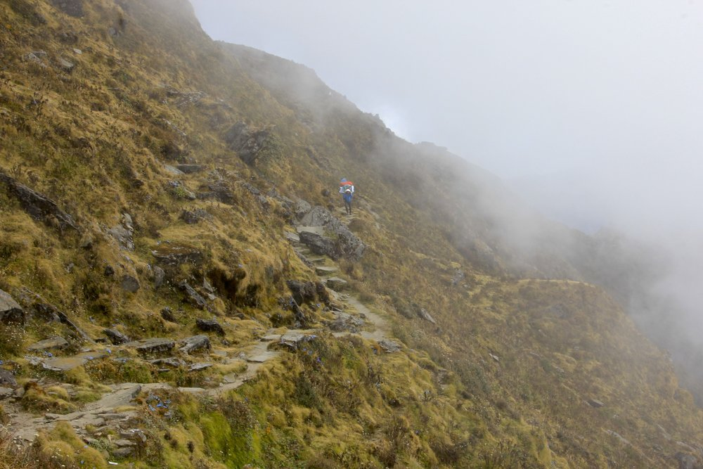 Second day of the approach to the Tilman Pass. We were in thick clouds during the day on this section of the trek.