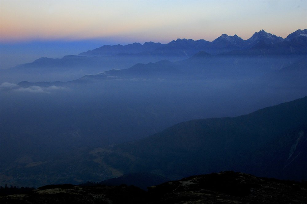 Beautiful sunrise over foothills of the Himalaya. This region is called Helambu.