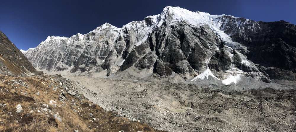 Exploring the Langtang Glacier. It is deceptively long and apparently it takes 3 days to get to the end of it from Langshisa Kharka.