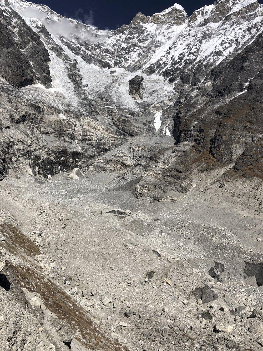Langtang Lirung (LL) Glacier from the LL BC