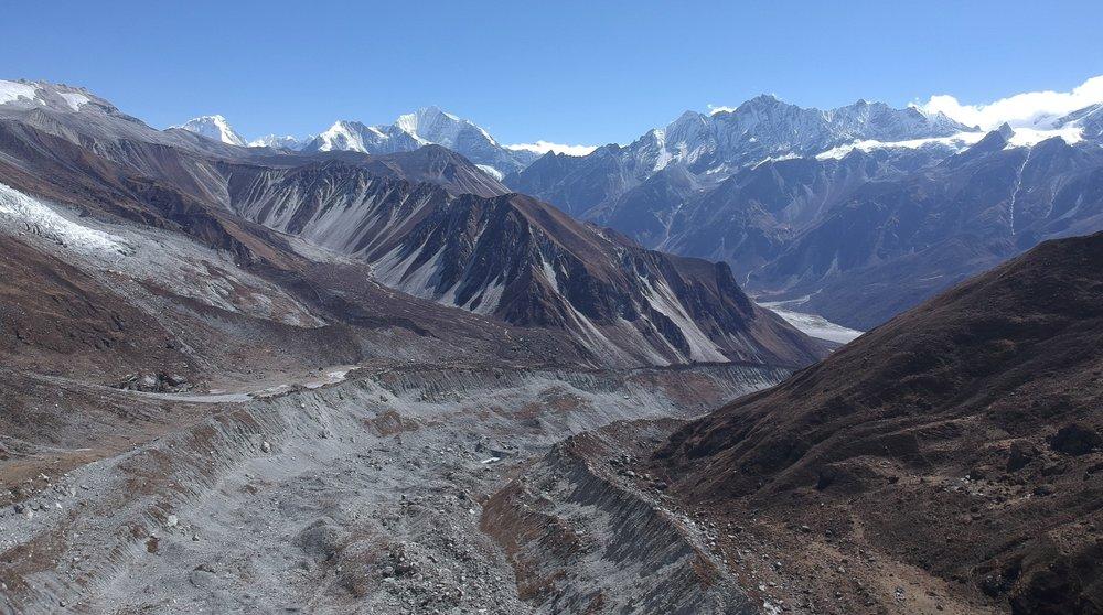 Langtang Lirung Glacier - Looking at the Langtang Valley 5 km away and 800m below.