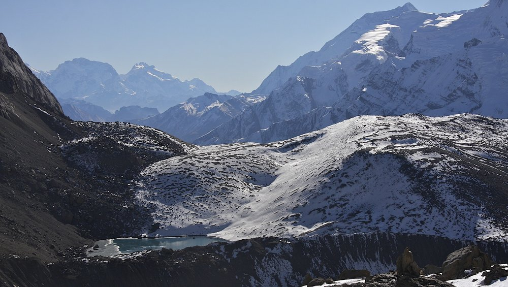 Looking back from Mesocanto Pass at the Manaslu Himal (left) and the Annapurna Himal (right)