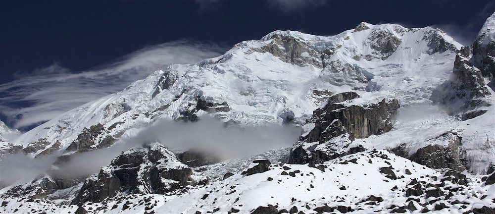 Kabru North (left) 7,338m and Kabru Sounth (right) 7,311m on the border of Nepal and India