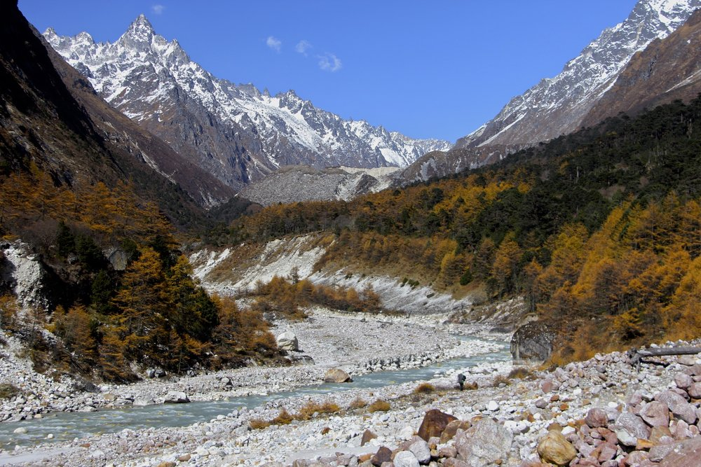 The Ghunsa Valley with Janu Glacier ahead. The pointy peak is Sarpu 6,158m.