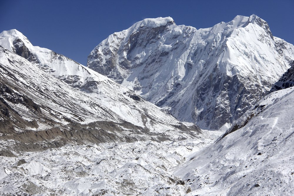 Tent Peak 7,362m and Nepal Peak 7,177m above the Kanchendzonga Glacier.