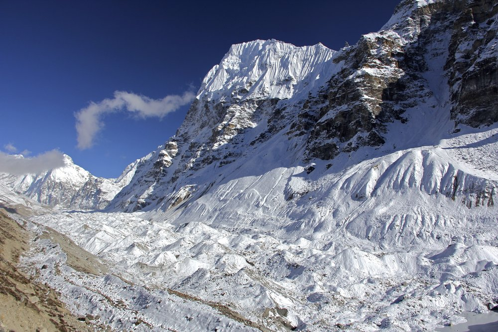 Wedge Peak 6,802m and the Kangchenjonga Glacier.