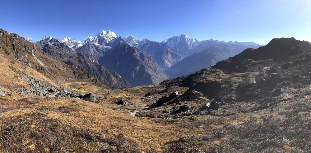 Beautiful view from the ridge above Panch Pokhari. The Langtang and Jugal Ranges are on the horizon 30km away.
