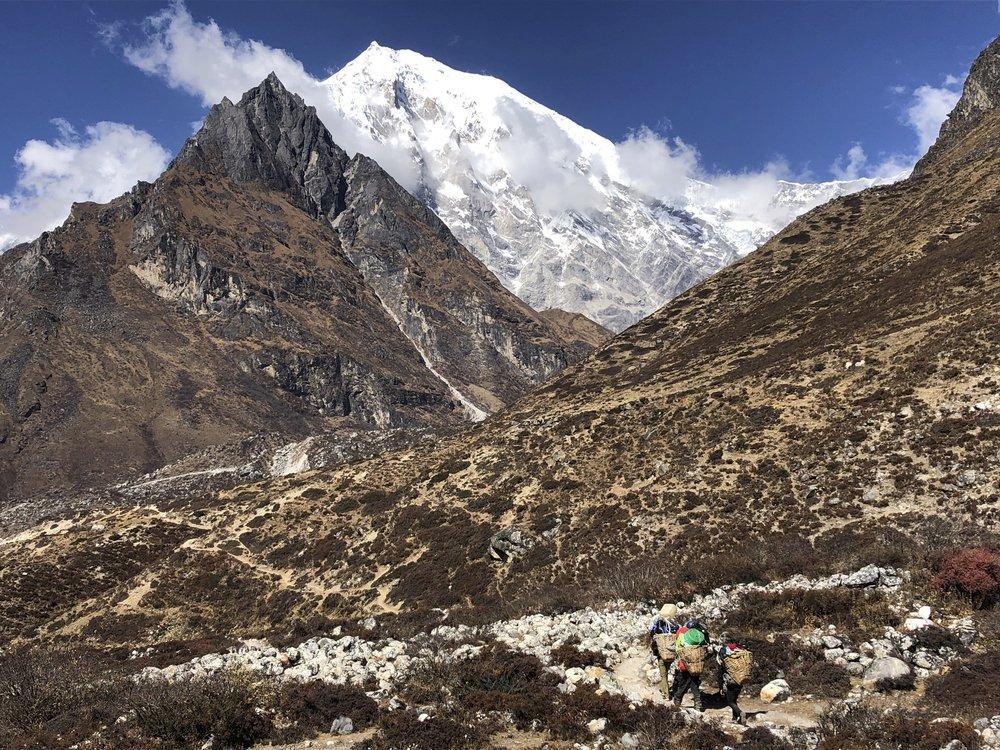 Approaching Kinjang Gompa with Langtang Lirung looming above