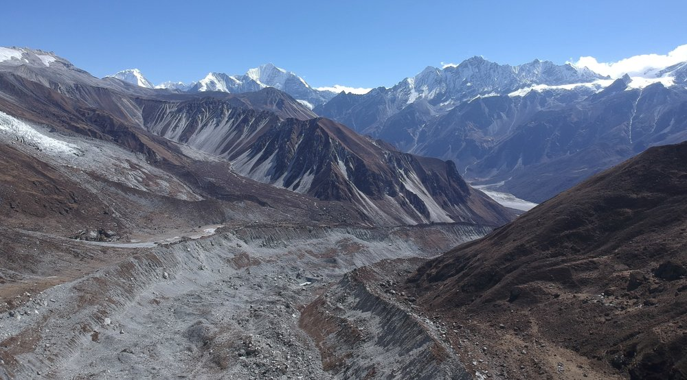 Langtang Lirung Glacier as seen from the drone