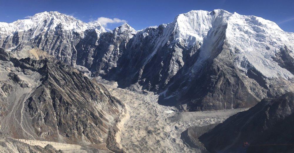 The Langtang Glacier, Mt. Shishapangma far away (on the left) and Mt. Pemthang Karpo Ri (22,500ft) on the right.