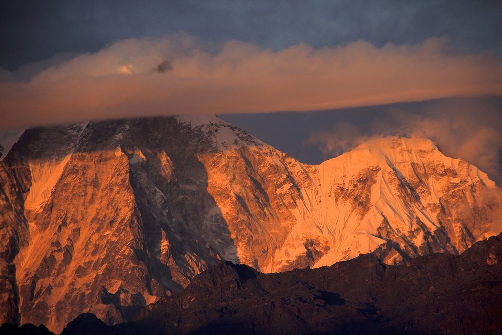 Mt. Dorje Lakpa in the last rays of the setting sun.