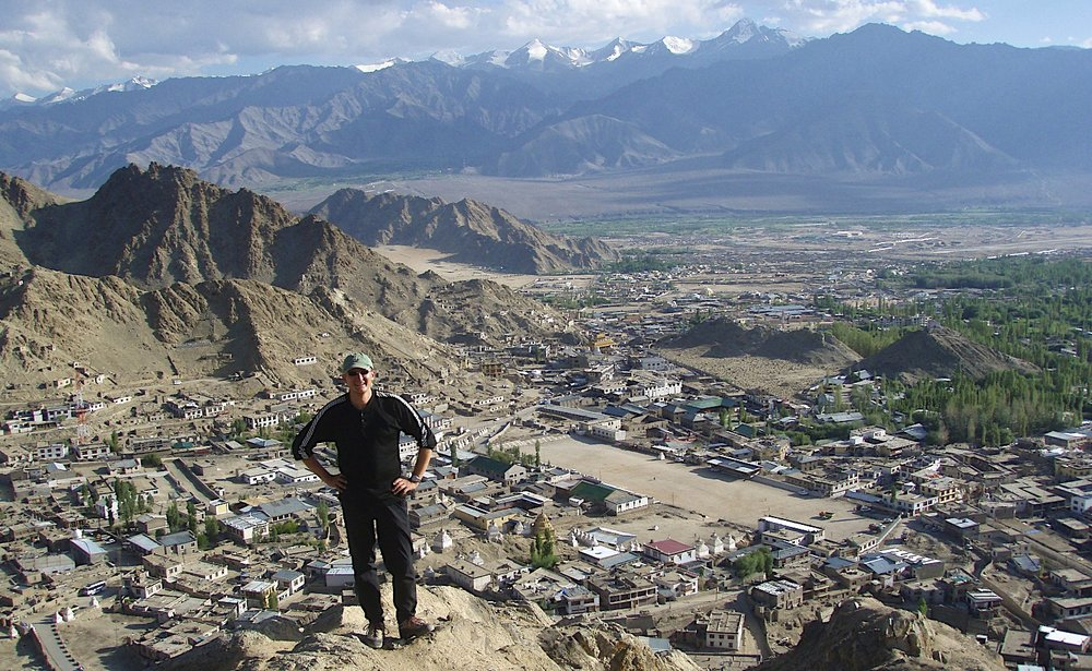 Leh with Stok Kangri Behind me.