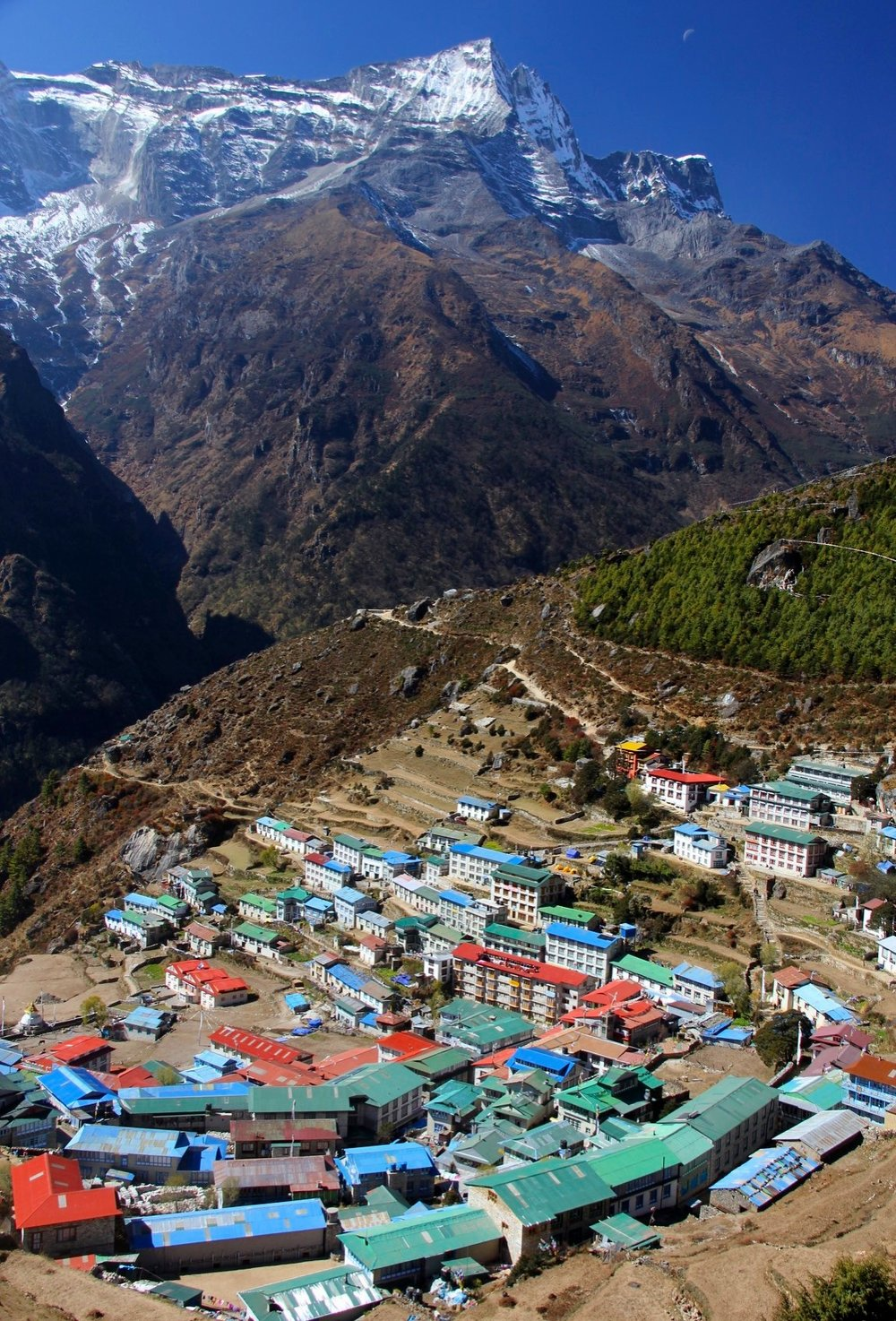 Namche Bazar and the valley leading to Renjo La Pass and Rowaling