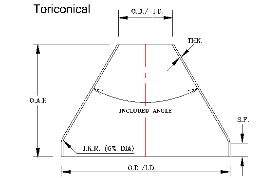 Toriconical - Diameter: 8″ – 192″Thickness: 10 GA – 3/4″