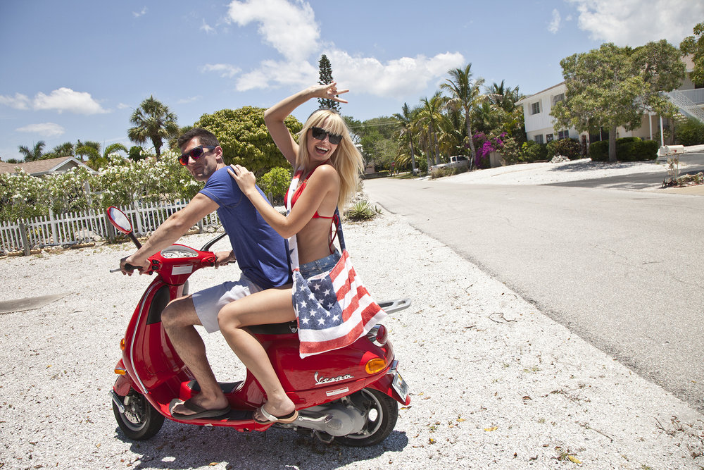 Vespa couple.