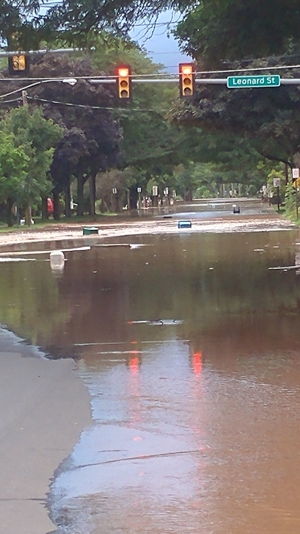 Flooding on lower Main Street in Bloomsburg Monday evening, courtesy of Valeri Reynolds.