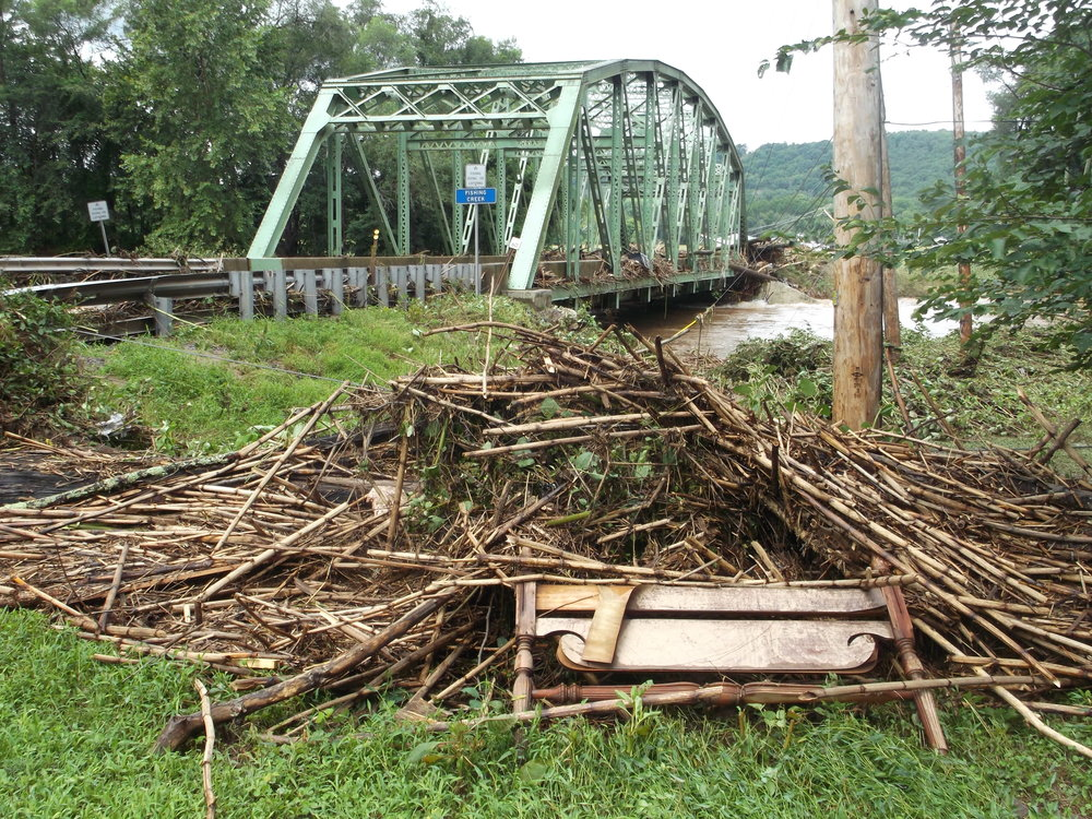 Debris piled up against the Iron Bridge on Millville Road in Bloomsburg
