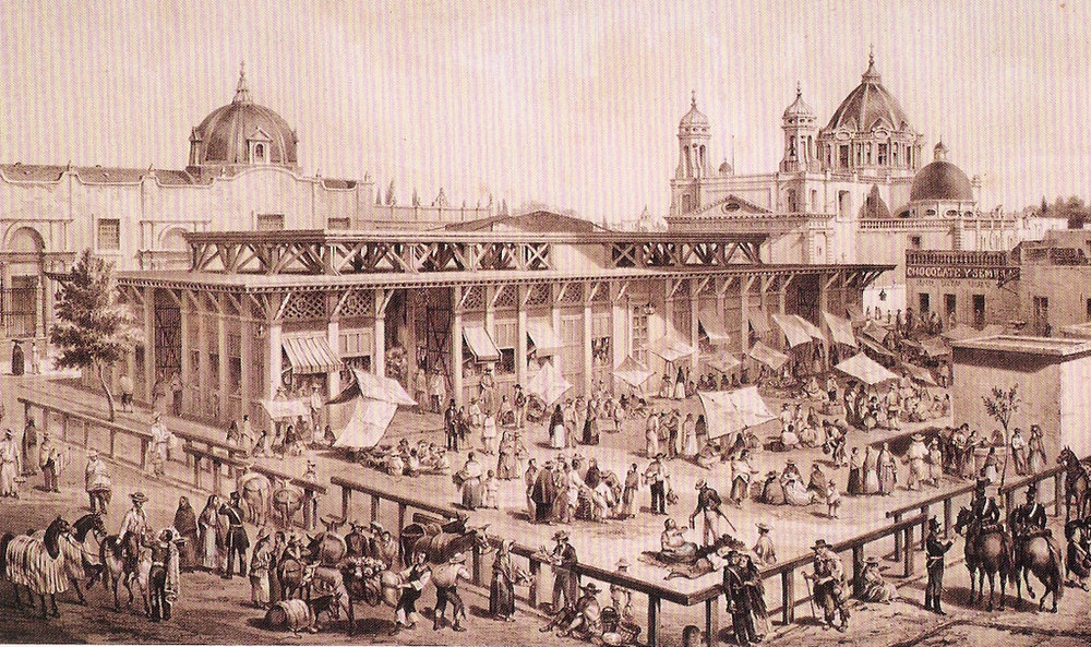 The Mercado San Juan as it looked during the colonial era.