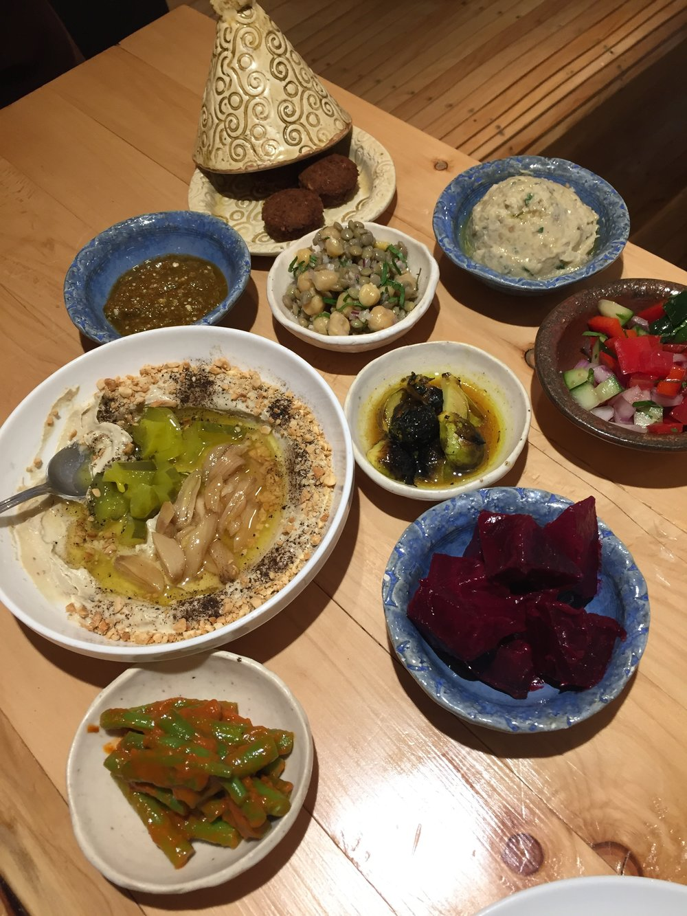 Salatim, little appetizers, at Merkavá