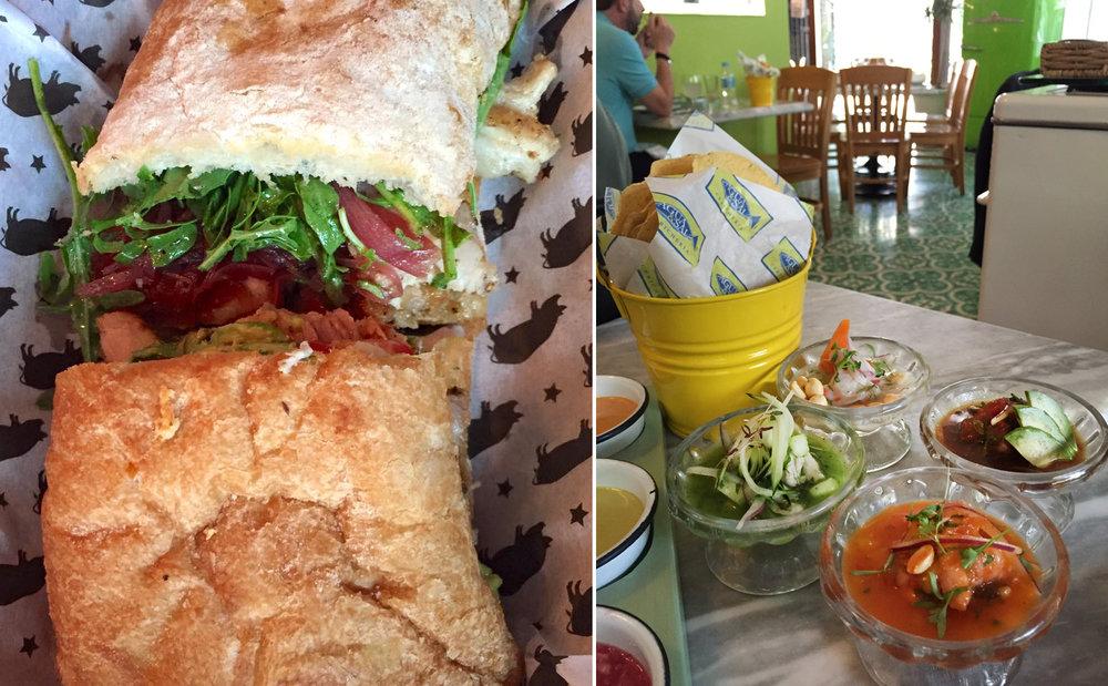un sandwich de porchetta; 4 ceviches a Agua y Sal