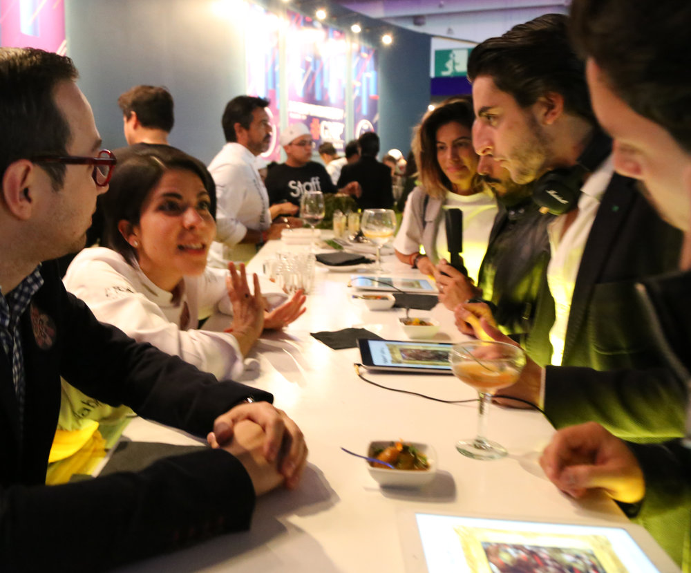Chef Gabriela Ruiz, from  Carmela y Sal  leads customers through her pairing of food and music, a novel idea that was surprisingly accessible and referred to this year's theme of 'technology'