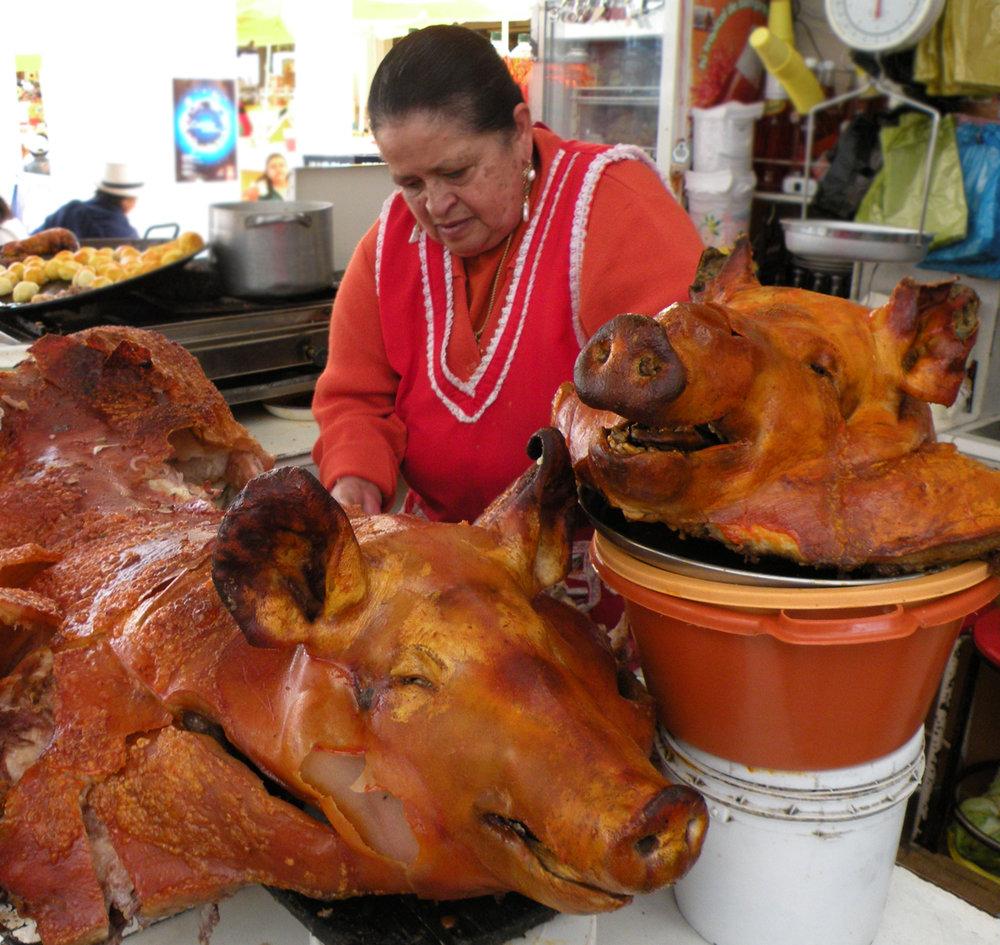 Hornados, Ecuador's version of lechón asado