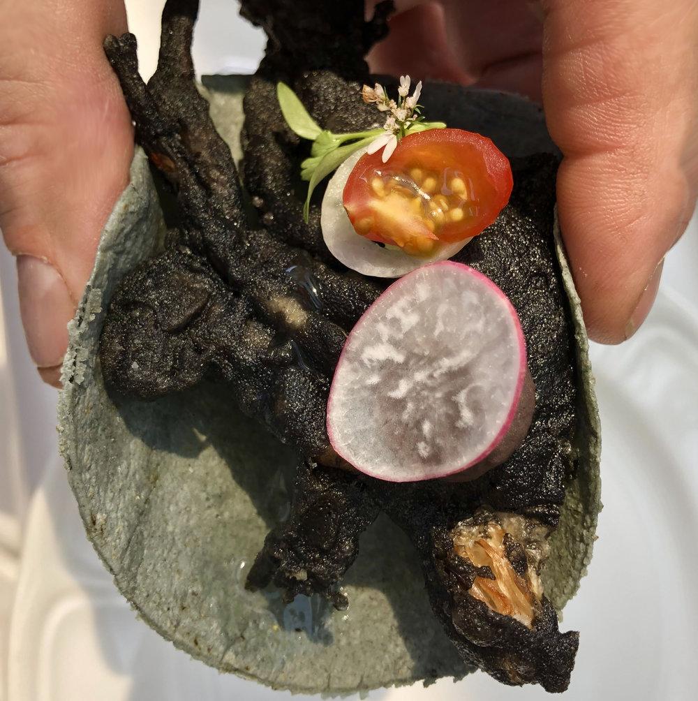 A soft shelled crab taco at