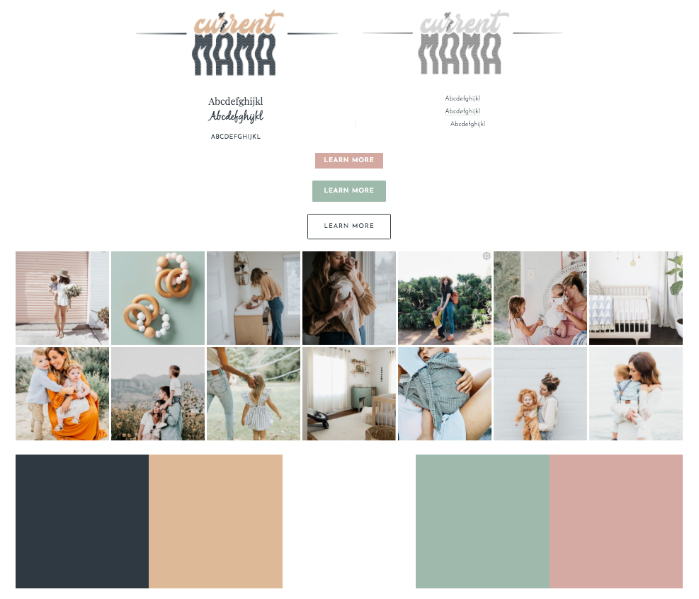 - I chose calm, muted colors in addition to white space in the website layout to achieve a clean, happy, modern aesthetic. I incorporated their brand concept of