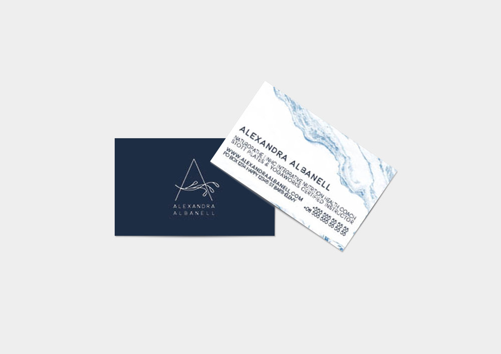 Business Card - Design echoes the brand colors and textures.
