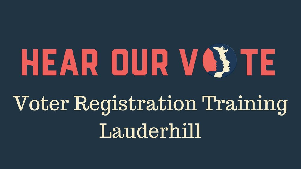 4-5-17: Voter Registration Training Session - On Thursday, April 5th in Lauderhill, Women's March Broward will host a Voter Registration Training Session. Votes can and do change history. Voting builds a stronger democracy by providing people a voice, and giving people the ability to vote can empower them to make an impact on current legislation and policy. With this training you can join us at Voter Registrations Drives throughout Broward County as we work through November to turn Florida BLUE. Please join us to learn what you can do to help. We hope to see you there!