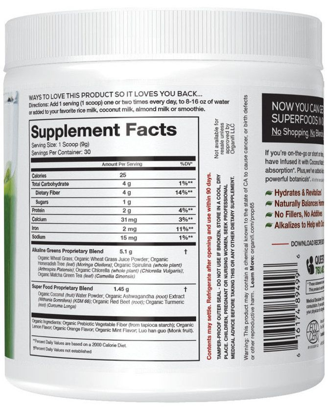 Green Juice Label Supplement Facts