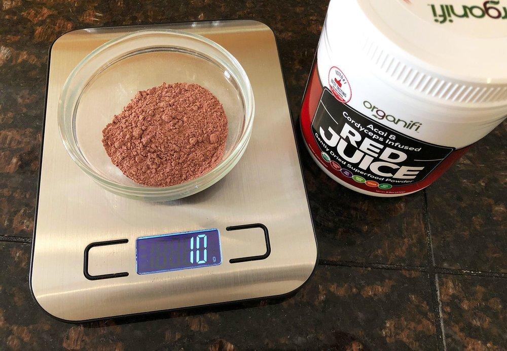 A Scoop of Red Juice Weighs Ten Grams