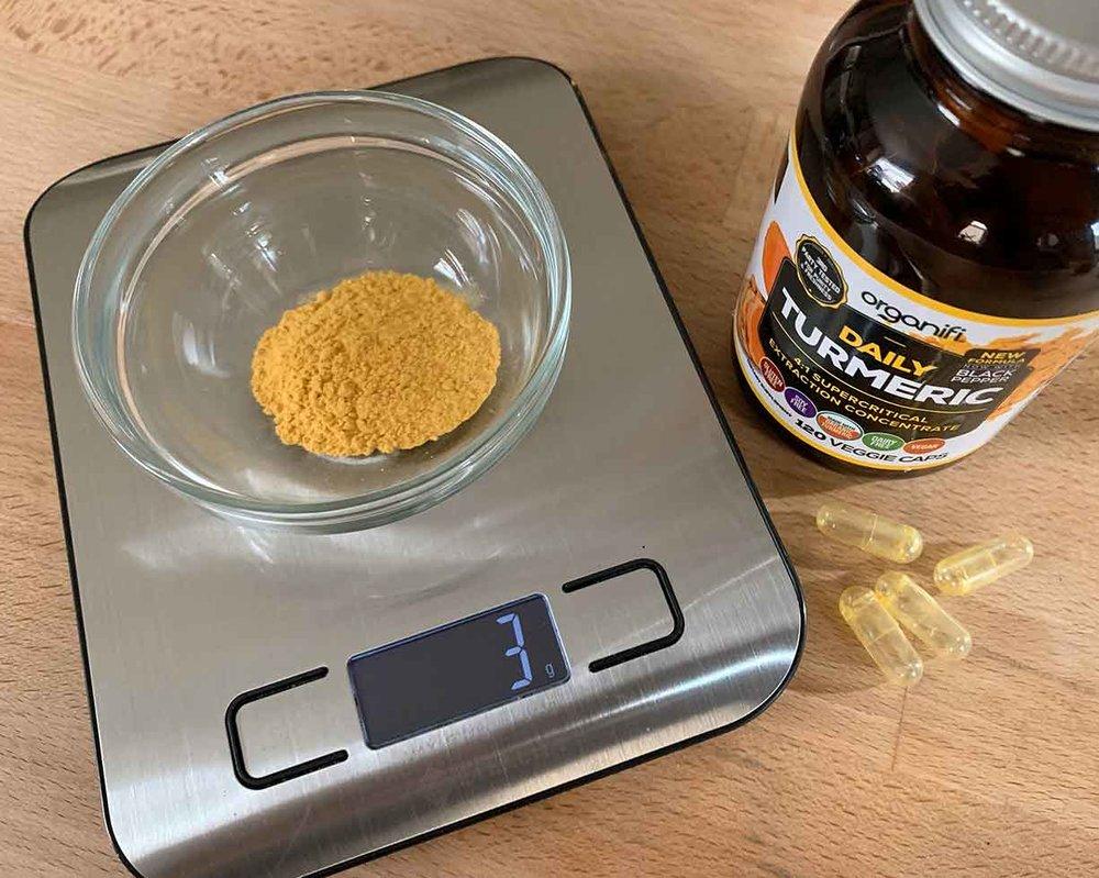 Organifi Daily Turmeric four Pills Weighed