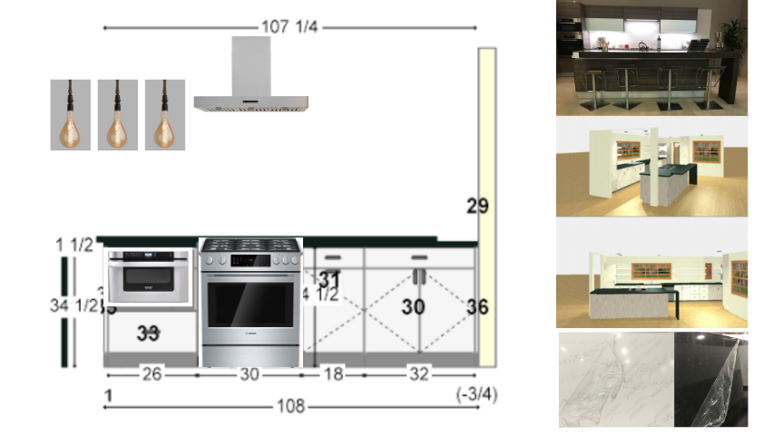 This is an updated version with a rough comp of our blueprint, appliances, pendant lights, and countertops all together.