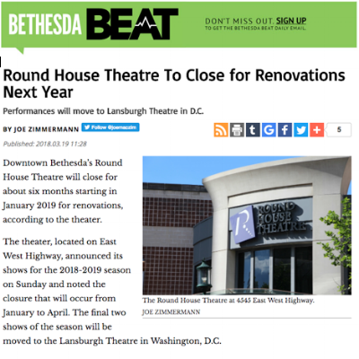 Bethesda Beat : Round House Theatre To Close for Renovations Next Year