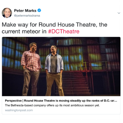 Tweet from Peter Marks, chief theatre critic for  The Washington Post