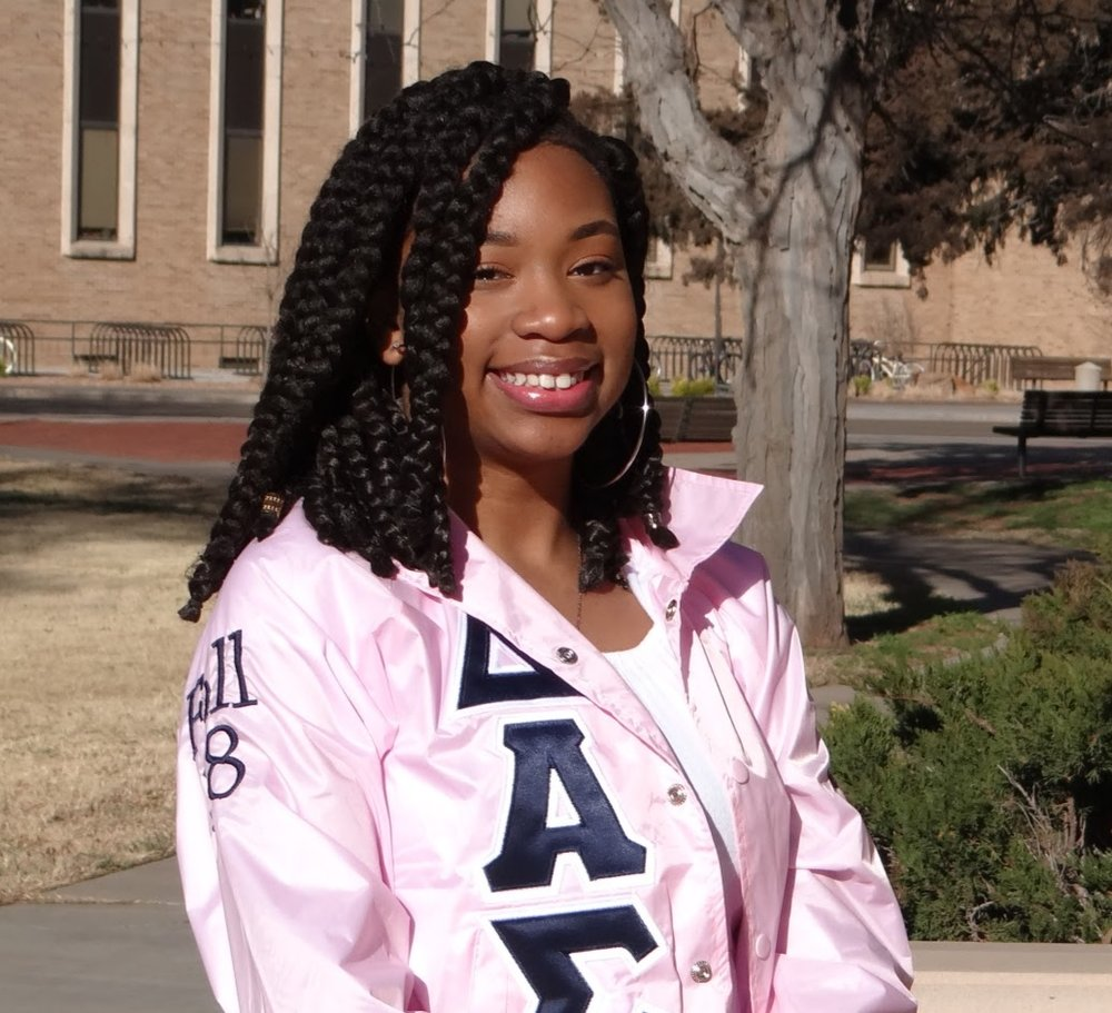 "#31 Cobi ""Astraia"" Washington - I joined DAS as a way to create a space for networking while also having a strong bond with like minded women. Being in DAS has allowed me to be apart of a strong sisterhood of women who value the same things as me. It also allows me to have a family here in Lubbock which is great because I'm so far away from my own."