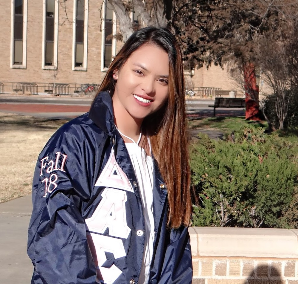 """#35 Destini """"Nala"""" Mercado - I joined DAS because I wanted to meet new people at Texas Tech. I also joined because I didn't really fit in anywhere in high school and I knew I needed to find my place here at Tech. I loved how it's academic based and also how it's small, I feel like that makes everyone have a better connection and bond. I also liked how it's multicultural because I love traveling and it's fun meeting people from all over. That is why I joined Delta Alpha Sigma and I love it."""