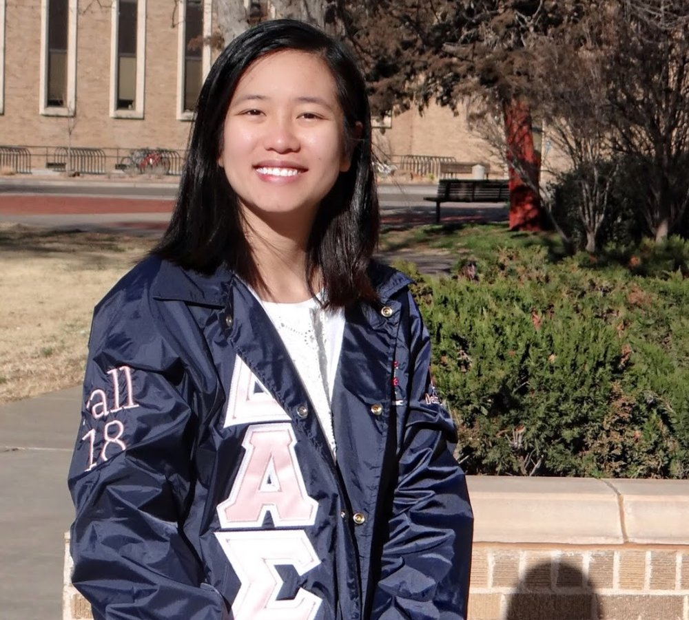 """#36 Skyler """"Maylee"""" Tran - Delta Alpha Sigma makes me feel at home. Leaving your family and friends behind is not an easy thing to do! I was alone, wandering, until I found a group of women that share the same values as I do and welcomed me into their family with all open arms. They make sure that I smile and feel happy every single day. They gave me a new family filled with love and I am thankful to be a part of their story."""