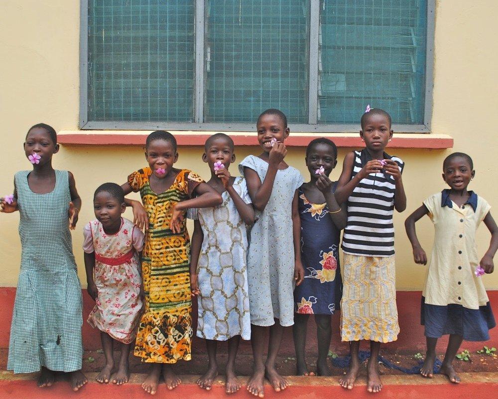 The first picture of all eight girls. L-R: Dina, Gloria, Richlove, Regina, Lucky, Sarah Sr., God's Way, and Sarah Jr.