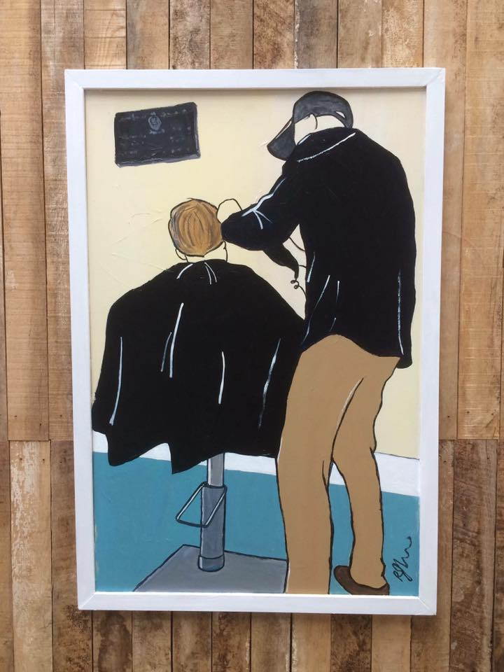 Richard John @ Harbor Barber - Art: PaintingsArtist Residence: VICTOR HARBORRichard John is a self taught artist who has successfully exhibited as part of Sala for a number of years, as well as at Tusk Gallery in Melbourne and the annual art show in his hometown of Victor Harbor. He paints things that he likes to paint: mainly commissions of children and dogs, but also paints things that he sees around him, like the 50's caravan that appears in many of his paintings. There are some beautiful old vans still around and they evoke childhood memories of freedom, innocence and simplicity. His caravan - a 1956 Globetrotter - serves both as a