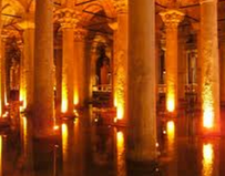 This is the city's most unexpected attraction. There are hundreds of cisterns under the streets and houses of Istanbul.  The Basilica Cistern provides a view of the complicated system that once brought drinking water into the palaces of Istanbul. It was constructed in the sixth century and then forgotten for centuries then accidentally rediscovered when it was noticed that people in the neighborhood would get water by simply lowering buckets into holes in their basements.